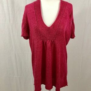 Eileen Fisher Tunic Sweater, Size Large, Dark Pink